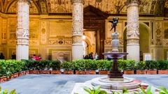 Courtyard with Putto in Palazzo Vecchio, Florence Stock Footage