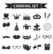 Carnival icon set, black silhouette style. Party, masquerade collection signs Stock Illustration