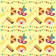 Purim seamless pattern with carnival elements. Happy Jewish festival, endless Stock Illustration