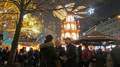 4K Christmas Fair market Fruit punch sausage stall Munich old town Germany Stock Footage