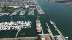 Orbiting drone shot of Marina del Rey, California boat harbor Stock Footage