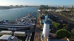 Drone shot of Lighthouse and Fisherman's Village in Marina del Rey, California Stock Footage