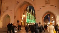 4K TL Munich crowds visitors Karlsplatz Stachus Christmas Fair market Town Hall Stock Footage