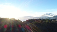 Breathtaking aerial video of Malibu, CA with beautiful sunflare Stock Footage