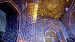 Interior of Tilya-Kori Madrasah on Registan Square in Samarkand - Uzbekistan Stock Footage
