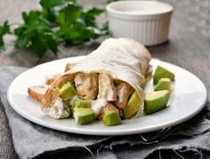 Fajitas with chicken and avocado Stock Photos