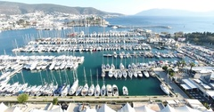 Nice aerial view of Bodrum Marina and Castle Stock Footage