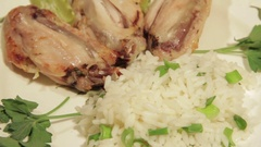 Dishes portion from chicken wings with rice Stock Footage