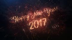 2017 Happy New Year greeting text with colored slow motion fireworks Stock Illustration