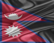 Nepal flag with a glossy silk texture. Stock Illustration
