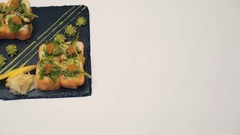 Sushi dish on white background 4K Stock Footage