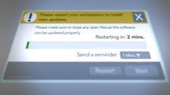Generic Computer Restart Menu dialog box progress bar Stock Footage