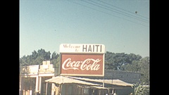 Vintage 16mm film, 1956, Haiti welcome to sign, Port au Prince b-roll... Stock Footage
