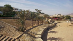 Beach in Egypt with Palms near the Hotel on the Beach Stock Footage