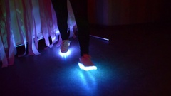Dancing Girl in Sneakers with LEDs Stock Footage