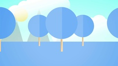 Loopable 2D Endtag Forest Background - Blue Version Stock Footage