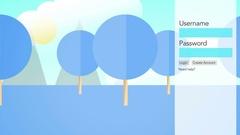 Loopable 2D Modern Website Login form - Blue Version Stock Footage