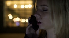 Sad female calling parents to talk about problems, depression, loneliness Stock Footage