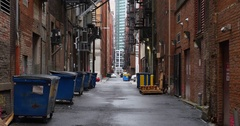 Establishing Shot of Empty Alleyway in a Large City Stock Footage