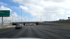 Driving view from a car on the freeway in Las Vegas, Nevada, in United stat.. Stock Footage