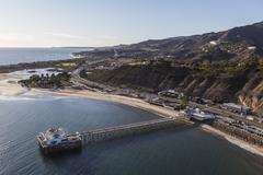 Aerial of Malibu Pier and the Santa Monica Mountains Stock Photos