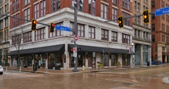 Typical Establishing Shot of Corner Bar and Restaurant in Pittsburgh Stock Footage