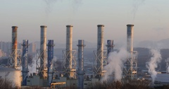 White smog spreading in the air from chimney of incineration plant : 4K footage Stock Footage