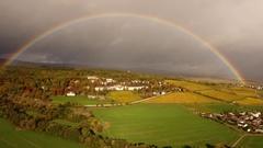 Rainbow over Rheingau area, Germany Stock Footage