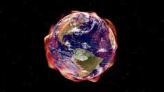 Global warming aura of heat envelopes the Earth in space. Stock Footage