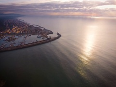 Aerial shot, small port in the winter sunset, in Pisa, Tuscany, Italy, fi Stock Footage