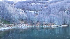 A video of a beautiful frozen lake in deep blue color, surrounded by fr.. Stock Footage
