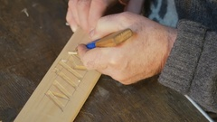 Artistic wood carving , close-up, tool carving tool / close up , artistic wood Stock Footage