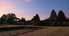 Sunset over Phimai historical park, North East Thailand. Stock Footage