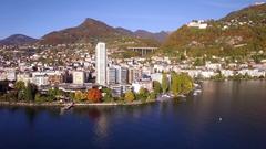 4K Aerial footage of Montreux - Leman Lake waterfront, Switzerland Stock Footage