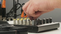 Changing Settings of the Sound Control Device Stock Footage