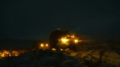 Night Road Drive by 4x4 Off-Road and Winter Stock Footage