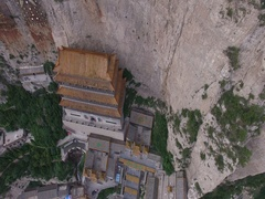 Aerial view of temple on Mianshan Mountain, Shanxi China Stock Footage