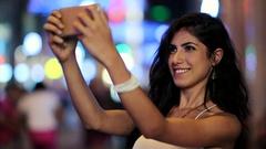 Beautiful Woman Taking a Selfie Stock Footage