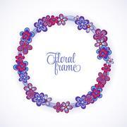 Floral Frame circle. Cute retro flowers arranged un a shape of the wreath Stock Illustration