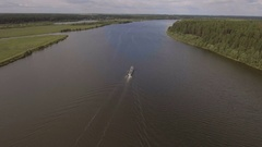 Aerial view:River ship on the river Stock Footage