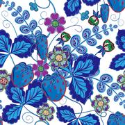 Bright seamless pattern with a strawberry, leaves and flowers in blue tone Stock Illustration