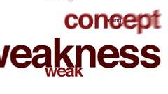 Weakness animated word cloud. Stock Footage