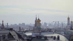 Concept Moscow Kremlin Panorama Aerial View and Next Street Zoom out Stock Footage