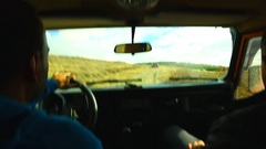 Man Driving a 4x4 Off-Road Stock Footage