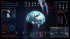 Businessman touching screen, Brain connect digital lines in digital display Stock Footage