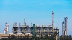 4k Time-lapse of Oil refinery industrial plant with sky, Thailand Stock Footage