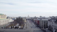 Concept Moscow Panorama Aerial View Stalinist Style Skyscraper Building Zoom out Stock Footage