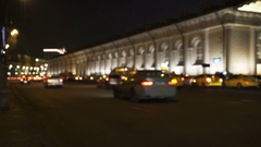 Concept of the night city traffic on Manezh Square near the Kremlin in blur Stock Footage