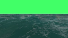 Flight over a water surface to green screen Stock Footage