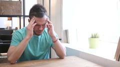 Headache, Upset Tense Young Man Stock Footage